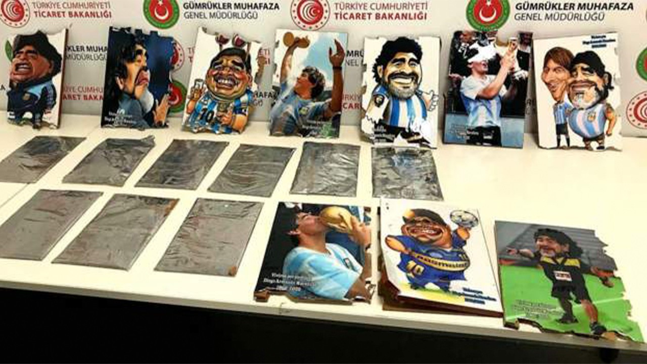 Drug traffickers caught smuggling cocaine inside portraits of football legend Maradona in Istanbul