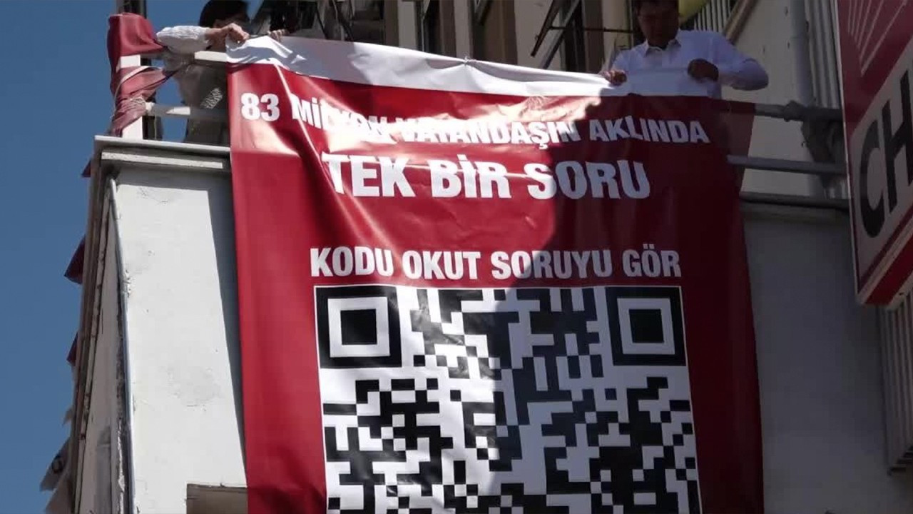 Police take down CHP's banner with QR code directed to question on missing $128 bln