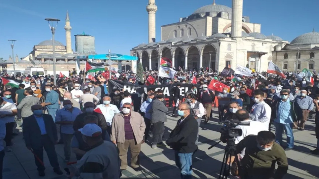 Despite COVID-19 lockdown, hundreds gather in Konya to protest Al-Aqsa attacks