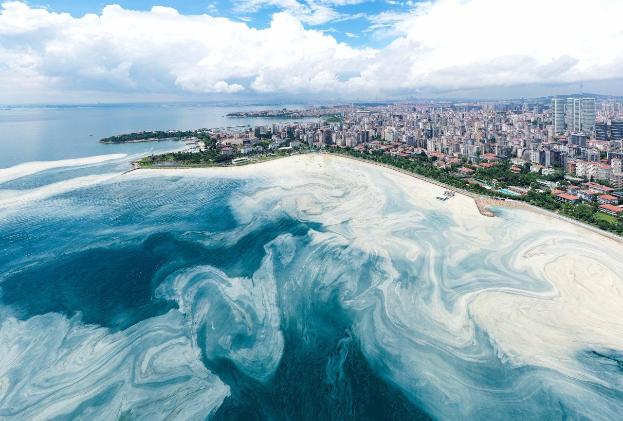 Aerial photos show how 'sea snot' outbreak continues at full speed in Istanbul - Page 1
