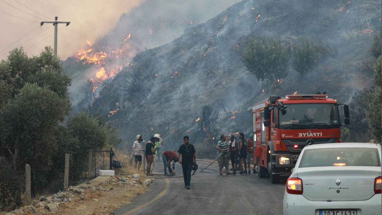 Out-of-control wildfire threatening power plant in Aegean Milas