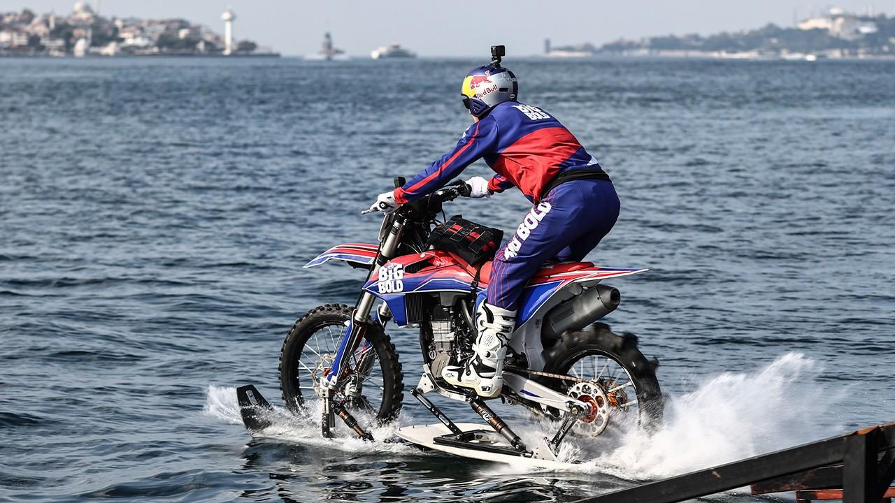 World-famous motocross rider crosses Bosphorus on modified bike