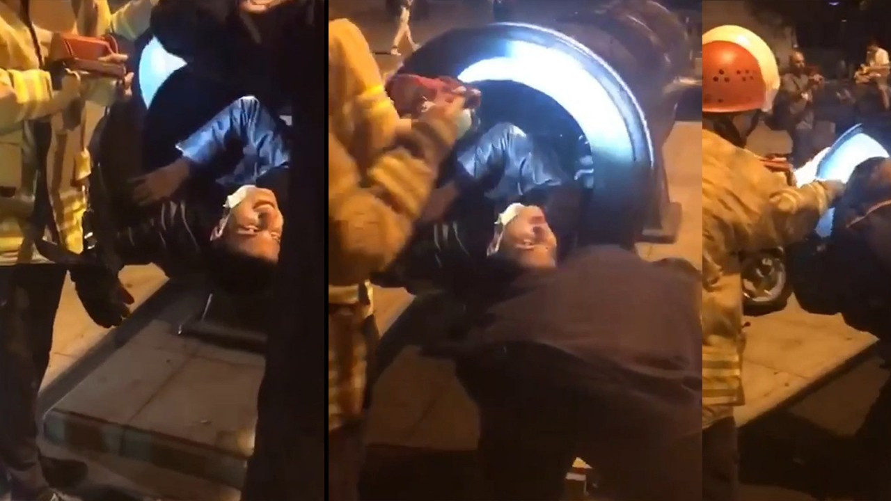 Turkish man stuck inside ancient cannon while trying to pose for photo