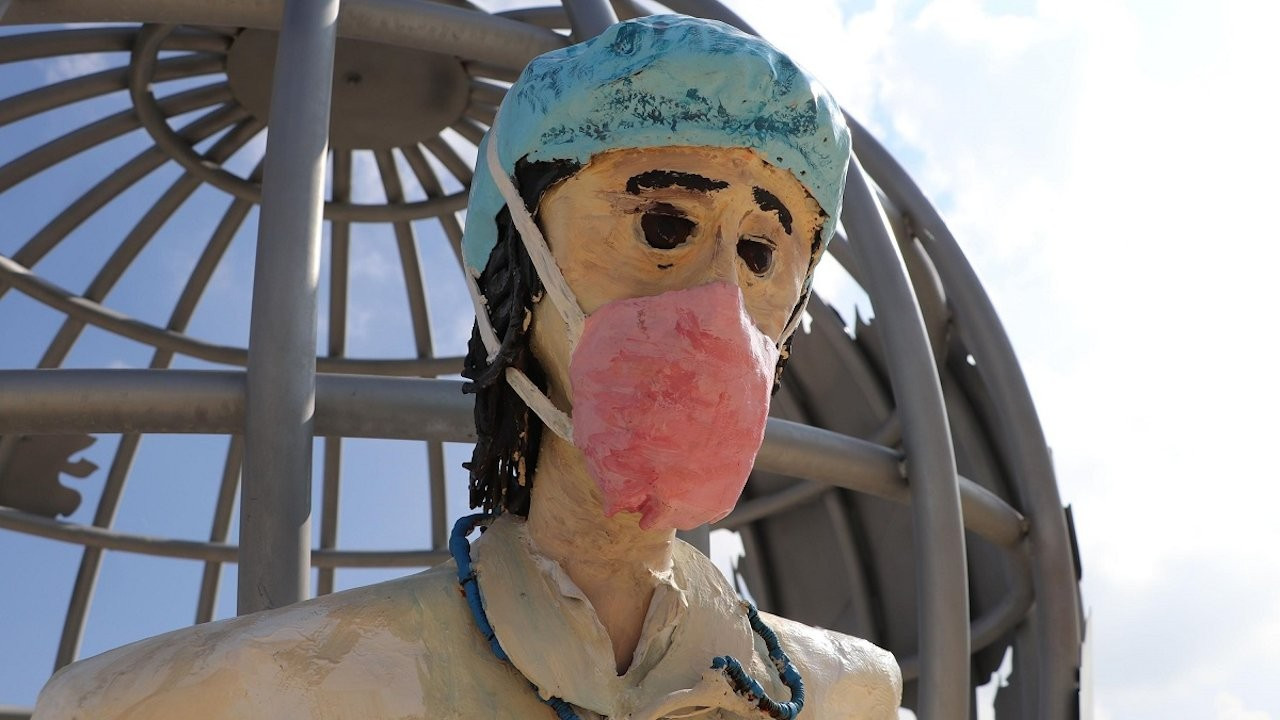 Sculptures placed to honor health workers slammed for being 'freakish'
