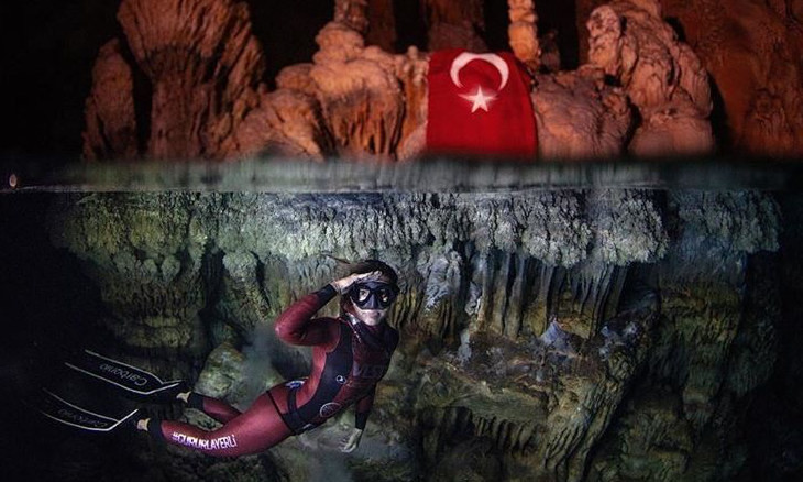 Turkish diver breaks world record, dedicates to soldiers