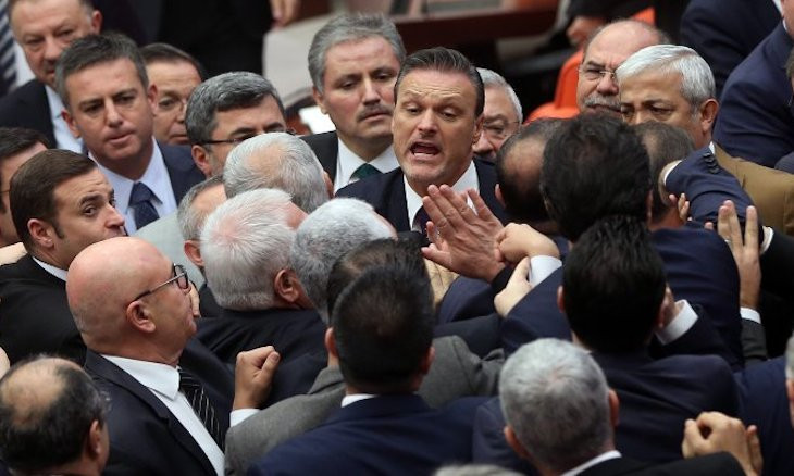 Turkish lawmakers brawl in parliament during budget discussions