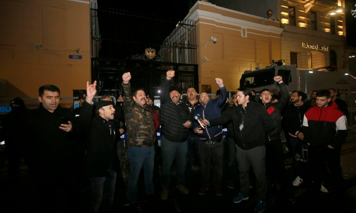 Group protests outside Russian mission after Idlib attack