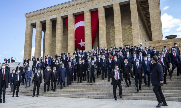 Turkish politicians break social distancing rules during Children's Day ceremony