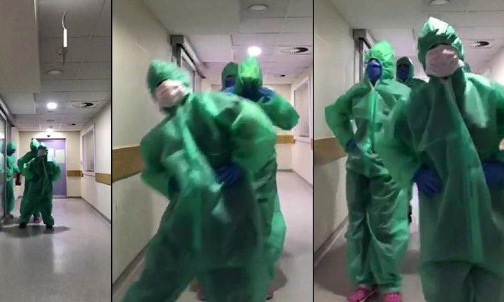 Turkish healthcare workers do penguin dance to cheer up coronavirus patients