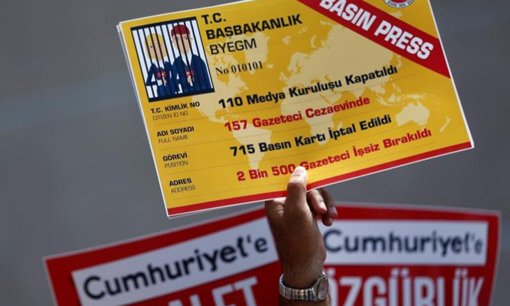 Turkey ranks near bottom of press freedom index, named  'world's biggest jailer of journalists'
