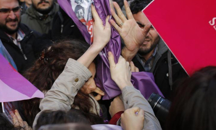 Turkish women quarantined at the scene of the murder