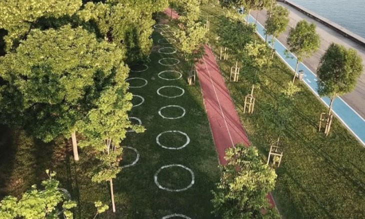 Istanbul municipality starts to draw 'social distancing circles' in parks