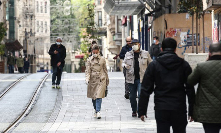 Surgical masks and three-meters distance now mandatory on Istanbul's  Istiklal Avenue