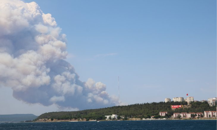 Çanakkale Strait closed to maritime traffic due to forest fire on Gallipoli peninsula