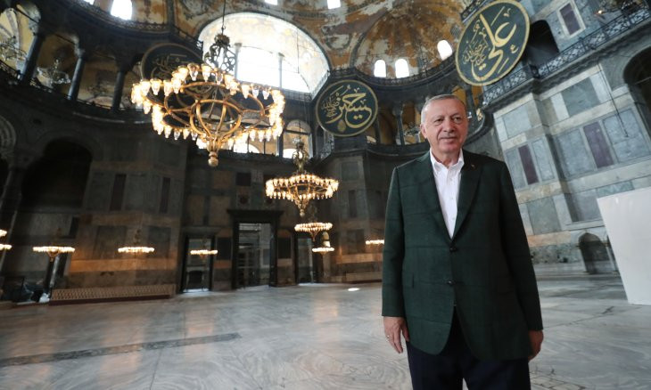 Erdoğan visits Hagia Sophia ahead of its reopening as a mosque