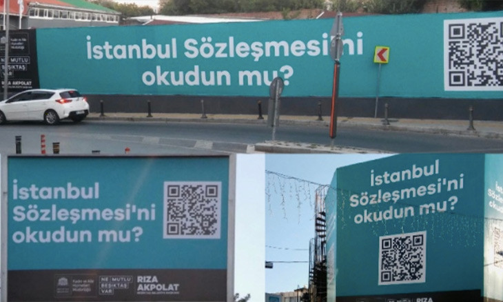 Istanbul billboards urge viewers to read convention against domestic violence