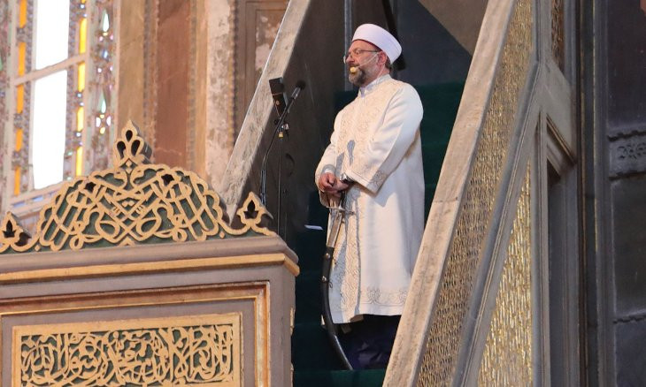 Turkey's top religious authority head delivers Friday sermon at Hagia Sophia with a sword in hand