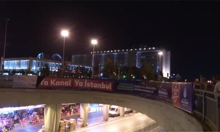 Police take down Istanbul municipality's posters against Kanal Istanbul project