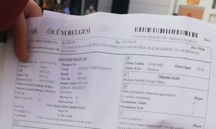 Northern Turkey hospital records COVID-19 patient's death as 'regular'