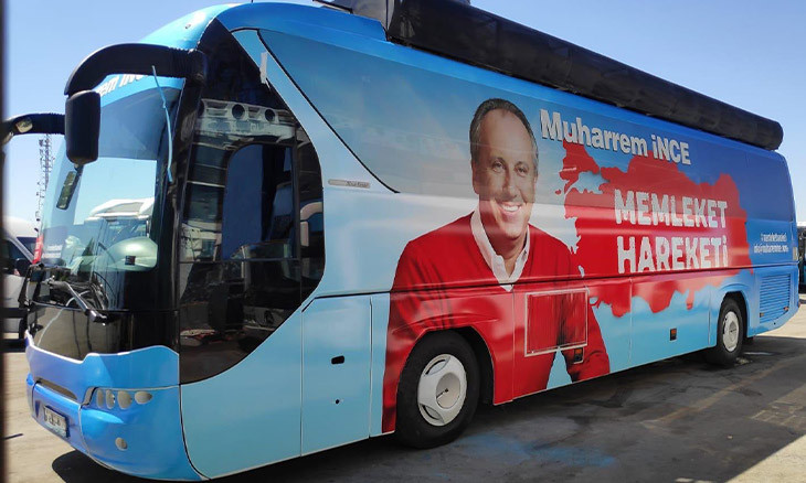 Former Turkish presidential candidate reveals tour bus for his new 'movement'