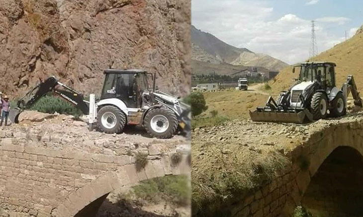 Heavy machinery used in 'renovation' of ancient bridge in central Turkey