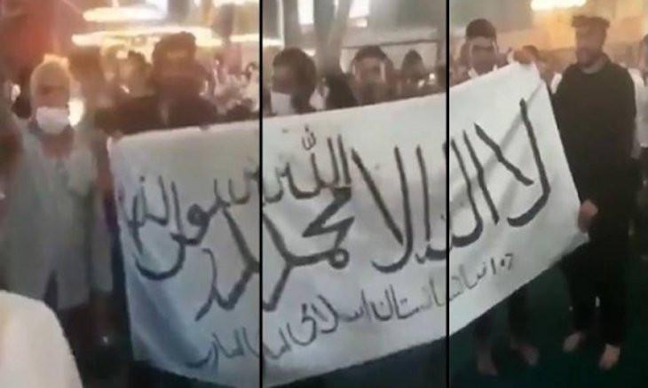 Pro-Taliban group records video at Hagia Sophia
