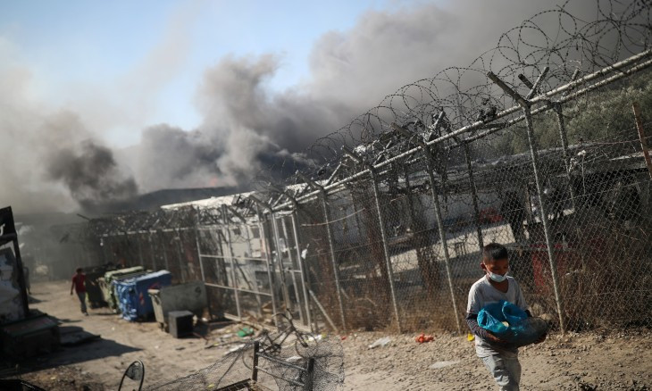Fire destroys Europe's largest migrant camp on Lesbos, forces thousands to flee