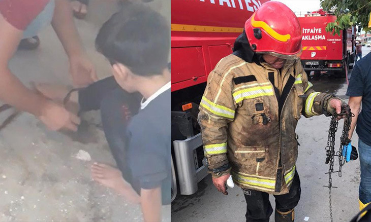 Fire squad rescues child chained by his father 'for misbehaving' from a burning house in Bursa