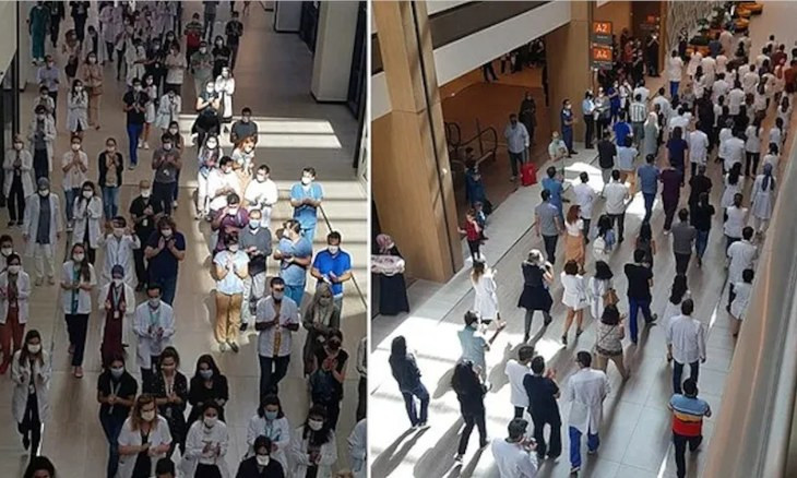 Doctors at Istanbul's biggest hospital hold protest over ministry's failure to pay coronavirus bonuses