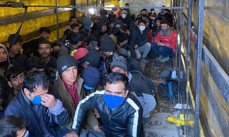 Over 200 migrants found inside lorry trailer in Van